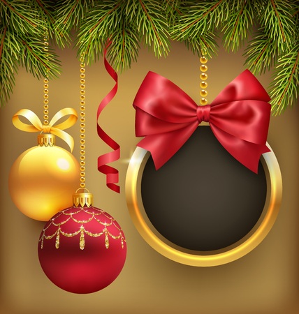 golden ball: Christmas Background with Pine Branches Frame and Balls on Brown Background