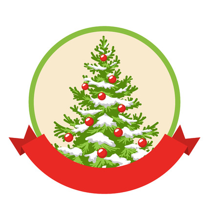 evergreen tree: Christmas Winter Label Icon with Decoration Evergreen Tree Isolated on White Background