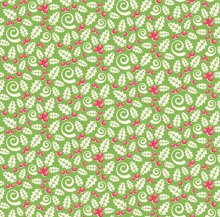 Seamless Christmas Winter Pattern with Holly Ornament Isolated on Green Background