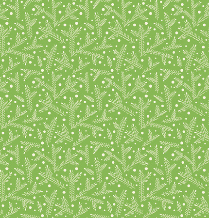 Seamless Winter Pattern with Pine Branches and Snow Isolated on Green Background