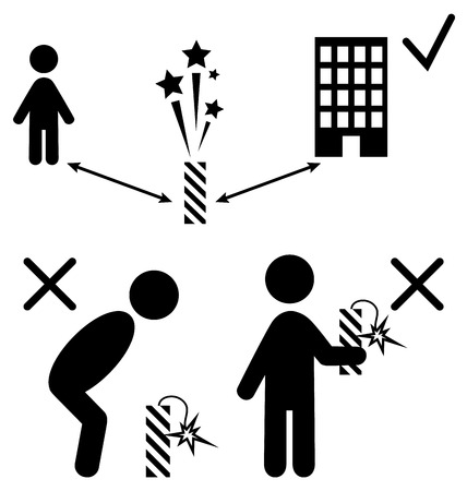 pyrotechnics: Set of Pyrotechnics Safety Precaution Measures Information Rules Flat Black Pictograms People Icons Isolated on White Background Illustration