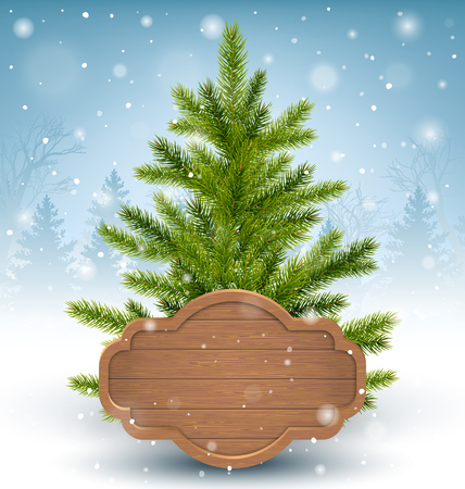 green frame: Christmas Tree with Wooden Frame in Snow on Wooden Floor on Blue Background