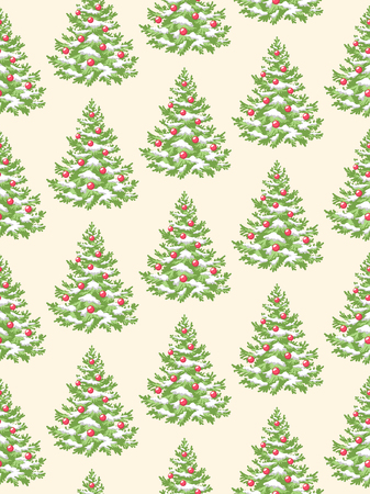 evergreen: Seamless Pattern with Decoration Evergreen Christmas Tree Pine Isolated on Beige Background Illustration
