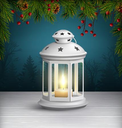 Lanterne de Noël sur le plancher en bois avec des branches de pin sur fond bleu foncé Illustration
