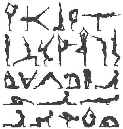 flexible girl: Yoga Poses Collection Set Black Icons Isolated on White Background Illustration