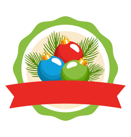 dec  25: Circle Christmas Label Icon Flat with Balls and Pine Isolated on White Background