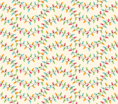 Seamless Winter Holidays Pattern with Christmas Lights Isolated on Beige Background