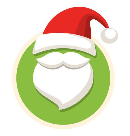 50672784 - Círculo de Navidad Etiqueta de icono plano con sombrero de  Santa y de la barba aisladas sobre fondo blanco aaffb09072c