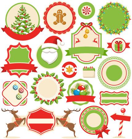 reno: Conjunto de invierno de Navidad Etiquetas de iconos planos Colección aislada en el fondo blanco