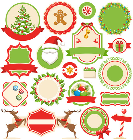 tag: Set of Christmas Winter Labels Icons Flat Collection Isolated on White Background Stock Photo