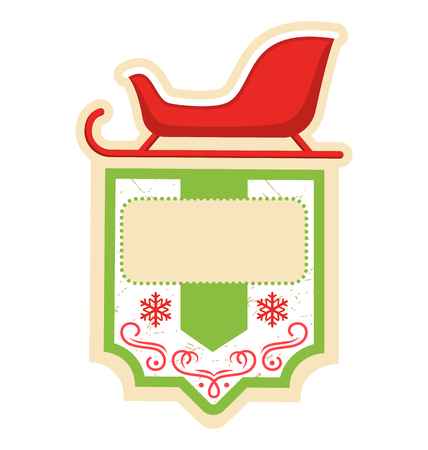 dec  25: Christmas Label Icon Flat Frame with Sledge on White Background