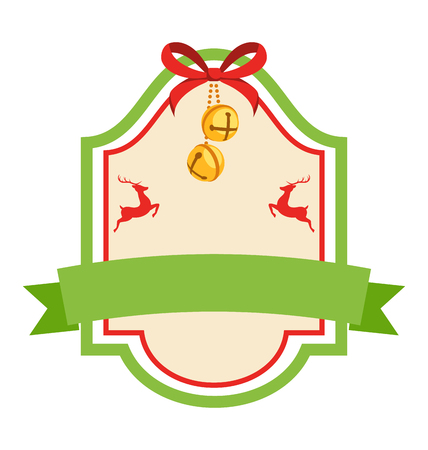 jingle bells: Christmas Label Icon Flat Vintage Frame with Jingle Bells and Deers Isolated on White Background Stock Photo
