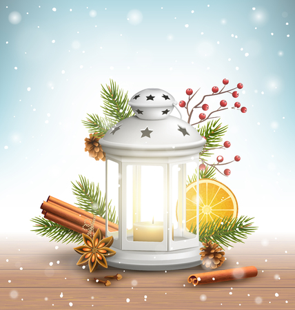 christmas scent: Christmas Lantern with Spices in Snowfall on Wooden Floor on Blue Background