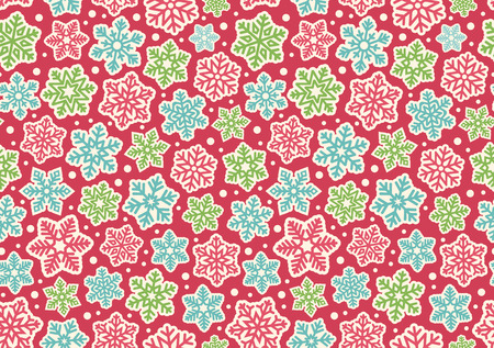 winter fun: Bright Fun Seamless Christmas Winter Pattern with Snowflakes Isolated on Pink  Background