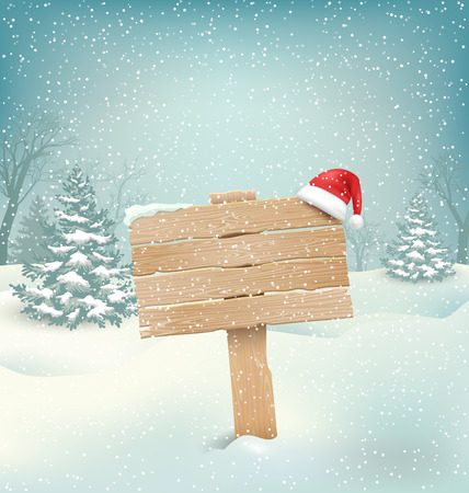 signpost: Winter Christmas Background with Wooden Signpost and Santa Hat
