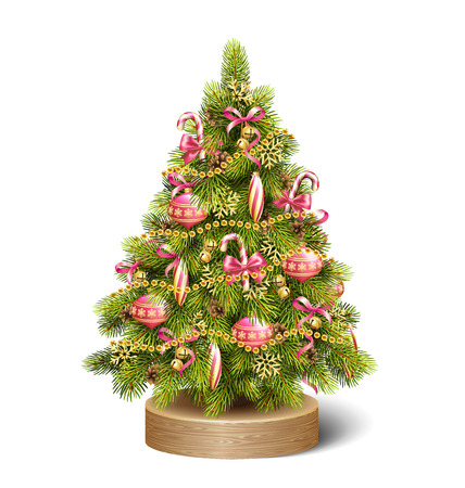 conifer: Festive Decoration Christmas Tree Pine On Wooden Stand Isolated on White Background Stock Photo