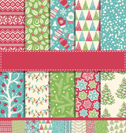 seamless paper: Set of 10 Ten Seamless Bright Fun Christmas Winter Holidays Patterns