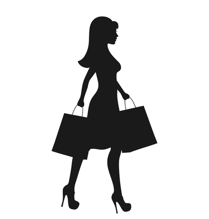 black woman: Black Icon Shopping Woman Silhouette with Bags Isolated on White Background
