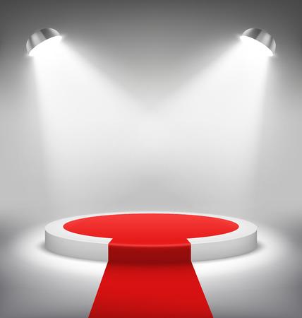 award ceremony: Illuminated Festive Stage Podium Scene with Red Carpet for Award Ceremony on White Background