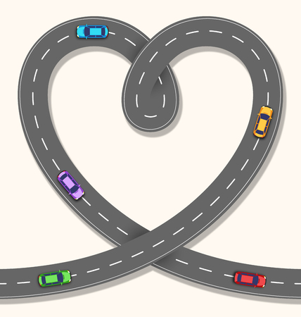 long distance: Seamless Heart Road with Cars on Beige Background Illustration