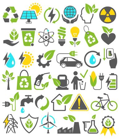 Milieuvriendelijk Bio Green Energy Sources Icons borden set op een witte achtergrond