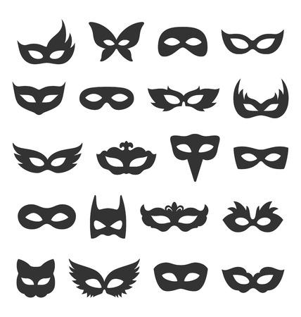 teatro mascara: Conjunto de la colección de máscaras de la mascarada del carnaval Negro iconos aislados sobre fondo blanco Vectores