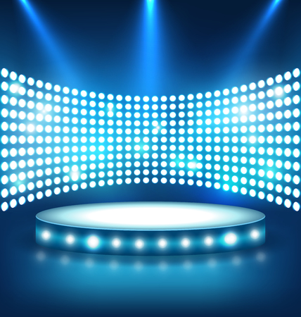 laureate: Illuminated Festive Shiny Blue Stage Podium with Spot Lights on Blue Background