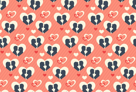 festive: Seamless Festive Abstract Pattern with Love Couple and Hearts