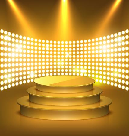 Illuminated Festive Golden Premium Stage Podium with Spot Lights on Gold Background