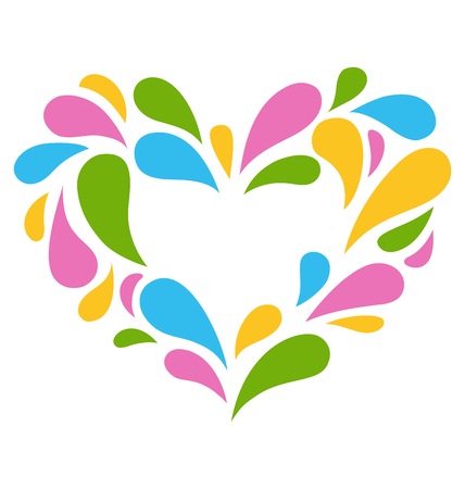 colorful heart: Festive Colorful Heart Icon Isolated on White Background