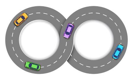 Road Infographic Travel Achtergrond Met Auto's Vector Illustratie