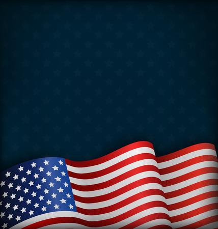 Wavy USA National Flag on Blue Background Illustration