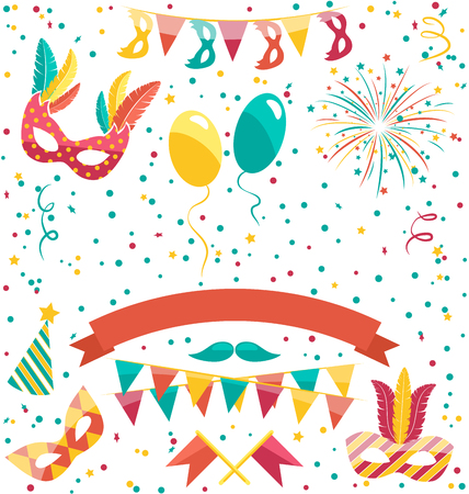parade confetti: Set Collection of Festive Colorful Carnival Masquerade Icons Isolated on White Background