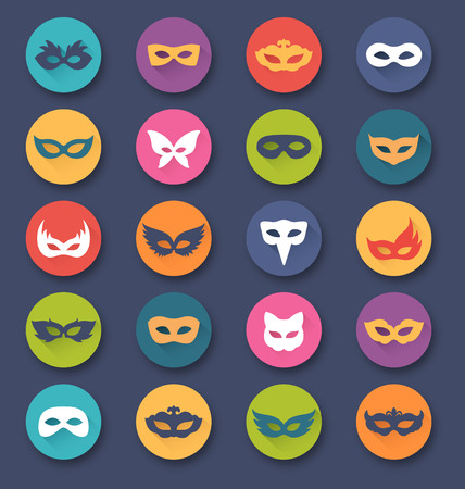 masquerade masks: Set Collection of Circle Carnival Masquerade Masks Icons Isolated on White Background