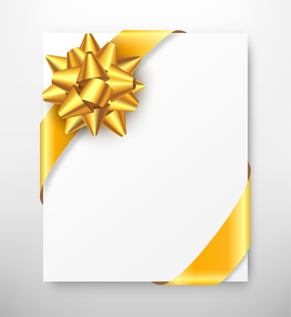 greet: Celebration Paper Greet Card with Golden Festive Ribbon Bow on Grayscale Background