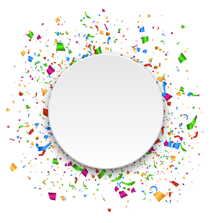 Festive Celebration Bright Confetti with Circle Frame Isolated on White Background