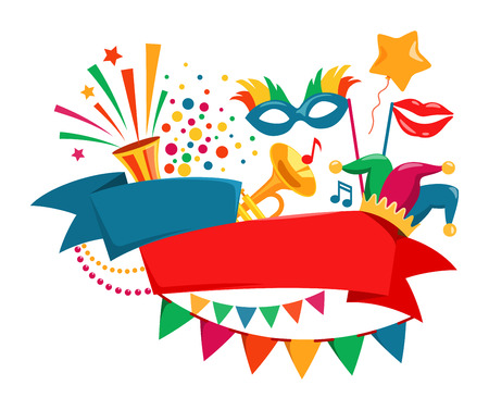 Happy Carnival Festive Concept with Musical Trumpet Mask Lips Jester Hat Bunting and Confetti Isolated on White Background