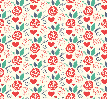 Seamless Love Abstract Pattern with Roses Flowers and Hearts on White Background Ilustração