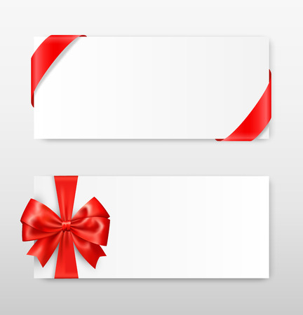 greet: Celebration Paper Greet Cards with Red Festive Ribbons and Bow on Grayscale Background