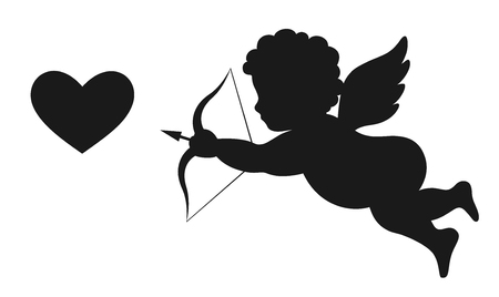 Angel Amur Cupid on Wings with Bow Arrow and Heart White and Black Icon Sign Isolated on White Background Stock Photo