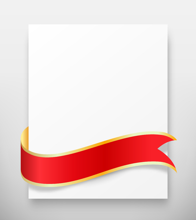greet: Celebration Paper Greet Card with Red Festive Ribbon on Grayscale Background Stock Photo