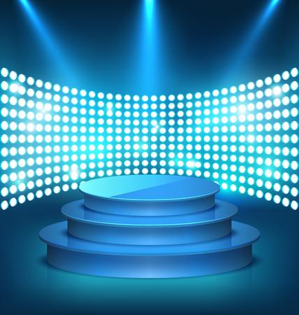 Illuminated Festive Shiny Blue Stage Podium with Spot Lights on Blue Background