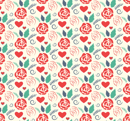 Seamless Love Abstract Pattern with Roses Flowers and Hearts on White Background Imagens