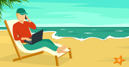 vacation with laptop: Best Work Concept Beach Summer Sea Background with Man and Laptop