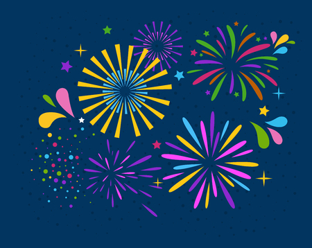 Festive Firework Salute Burst on Blue Background Stock Photo