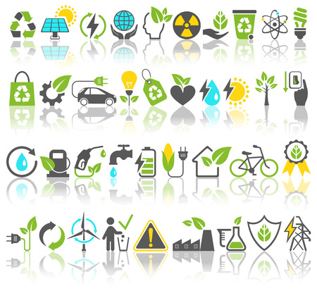 Eco Friendly Bio Green Energy Sources Icons Signs Set with Reflection Isolated on White Background Ilustração