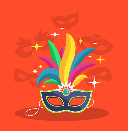 Mask with Multicolor Feather on Red Background Vectores