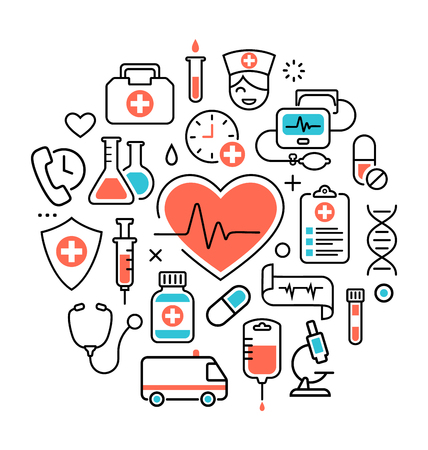 Health Heart Care Concept Medical Icons Signs Isolated on White Background Vectores