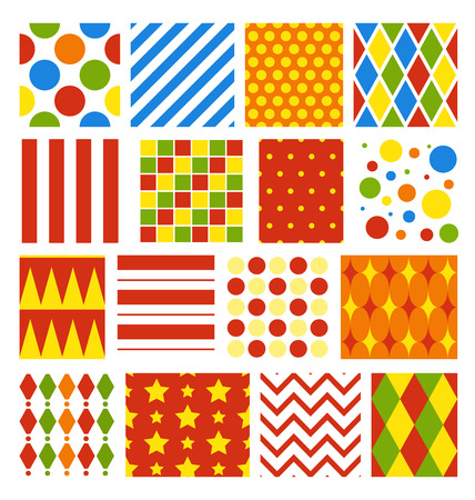 Set of Seamless Carnival Circus Bright Festive Patterns