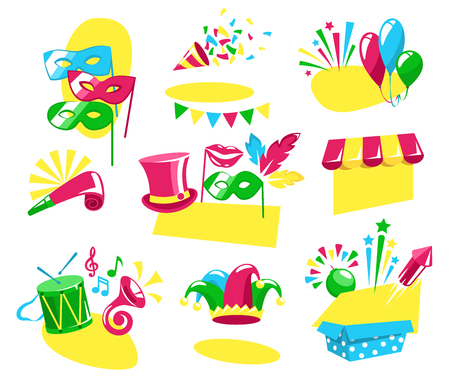Bright Carnival Festive Labels Signs Icons Collection Isolated on White Background